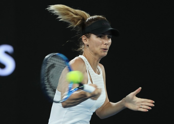 MELBOURNE, AUSTRALIA - JANUARY 17:  Tsvetana Pironkova of Bulgaria plays a forehand in her first round match against Agnieszka Radwanska of Poland on day two of the 2017 Australian Open at Melbourne Park on January 17, 2017 in Melbourne, Australia.  (Photo by Mark Kolbe/Getty Images)
