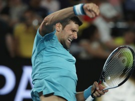 MELBOURNE, AUSTRALIA - JANUARY 17:  Novak Djokovic of Serbia celebrates victory in his first round match against Fernando Verdasco of Spain on day two of the 2017 Australian Open at Melbourne Park on January 17, 2017 in Melbourne, Australia.  (Photo by Mark Kolbe/Getty Images)
