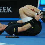 MELBOURNE, AUSTRALIA - JANUARY 18:  Andy Murray of Great Britain falls over in his second round match against Andrey Rublev of Russia on day three of the 2017 Australian Open at Melbourne Park on January 18, 2017 in Melbourne, Australia.  (Photo by Michael Dodge/Getty Images)