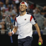 MELBOURNE, TASMANIA - JANUARY 18:  Andreas Seppi of Italy reacts after winning the forth set of his second round match against Nick Kygrios of Australia on day three of the 2017 Australian Open at Melbourne Park on January 18, 2017 in Melbourne, Australia.  (Photo by Mark Kolbe/Getty Images)