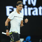 MELBOURNE, AUSTRALIA - JANUARY 19:  Rafael Nadal of Spain celebrates winning the first set in his second round match against Marcos Baghdatis of Cyprus on day four of the 2017 Australian Open at Melbourne Park on January 19, 2017 in Melbourne, Australia.  (Photo by Clive Brunskill/Getty Images)