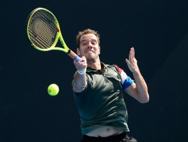 MELBOURNE, AUSTRALIA - JANUARY 17:  Richard Gasquet of France plays a forehand in his first round match against Blake Mott of Australia on day two of the 2017 Australian Open at Melbourne Park on January 17, 2017 in Melbourne, Australia.  (Photo by Darrian Traynor/Getty Images)