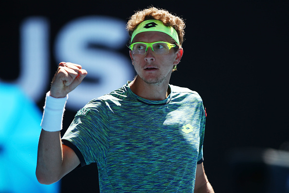 XXX of ZZZ plays a XXXX in his/her second round match against XXXX of ZZZZ on day four of the 2017 Australian Open at Melbourne Park on January 19, 2017 in Melbourne, Australia.