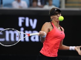 MELBOURNE, AUSTRALIA - JANUARY 19:  Mirjana Lucic-Baroni of Croatia plays a forehand in her second round match against Agnieszka Radwanska of Poland on day four of the 2017 Australian Open at Melbourne Park on January 19, 2017 in Melbourne, Australia.  (Photo by Mark Kolbe/Getty Images)