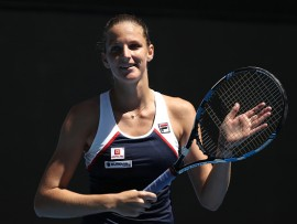 MELBOURNE, AUSTRALIA - JANUARY 19:  Karolina Pliskova of the Czech Republic celebrates winning her second round match against Anna Blinkova of Russia on day four of the 2017 Australian Open at Melbourne Park on January 19, 2017 in Melbourne, Australia.  (Photo by Mark Kolbe/Getty Images)