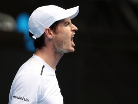 MELBOURNE, AUSTRALIA - JANUARY 20:  Andy Murray of Great Britain reacts in his third round match against Sam Querrey of the United States on day five of the 2017 Australian Open at Melbourne Park on January 20, 2017 in Melbourne, Australia.  (Photo by Scott Barbour/Getty Images)