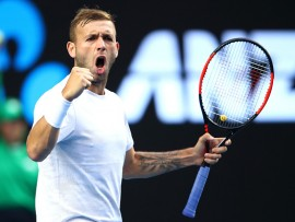 MELBOURNE, AUSTRALIA - JANUARY 20:  Daniel Evans of Great Britain celebrates in his third round match against Bernard Tomic of Australia on day five of the 2017 Australian Open at Melbourne Park on January 20, 2017 in Melbourne, Australia.  (Photo by Clive Brunskill/Getty Images)