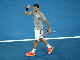 MELBOURNE, AUSTRALIA - JANUARY 21:  Grigor Dimitrov  of Bulgaria  reacts in his third round match against Richard Gasquet of France on day six of the 2017 Australian Open at Melbourne Park on January 21, 2017 in Melbourne, Australia.  (Photo by Pat Scala/Getty Images)
