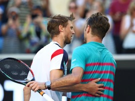 MELBOURNE, AUSTRALIA - JANUARY 22:   Andreas Seppi of Italy congratulates Stan Wawrinka of Switerland on winning their fourth round match against on day seven of the 2017 Australian Open at Melbourne Park on January 22, 2017 in Melbourne, Australia.  (Photo by Cameron Spencer/Getty Images)