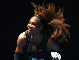 MELBOURNE, AUSTRALIA - JANUARY 23:  Serena Williams of the United States serves in her fourth round match against Barbora Strycova of the Czech Republic on day eight of the 2017 Australian Open at Melbourne Park on January 23, 2017 in Melbourne, Australia.  (Photo by Clive Brunskill/Getty Images)