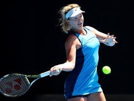 MELBOURNE, AUSTRALIA - JANUARY 24:  CoCo Vandeweghe of the United States plays a forehand in her quarterfinal match against Garbine Muguruza of Spain on day nine of the 2017 Australian Open at Melbourne Park on January 24, 2017 in Melbourne, Australia.  (Photo by Cameron Spencer/Getty Images)