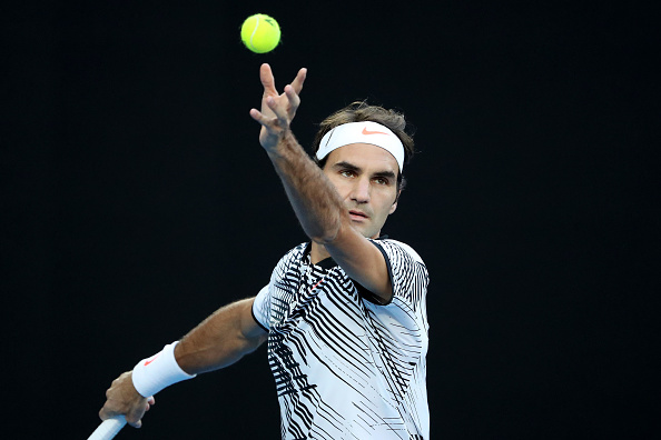 XXX of ZZZ plays a XXXX in his/her quarter final match against XXXX of ZZZZ on day nine of the 2017 Australian Open at Melbourne Park on January 24, 2017 in Melbourne, Australia.