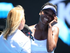 MELBOURNE, AUSTRALIA - JANUARY 24:  Venus Williams of the United States celebrates winning her quarterfinal match against Anastasia Pavlyuchenkova of Russia on day nine of the 2017 Australian Open at Melbourne Park on January 24, 2017 in Melbourne, Australia.  (Photo by Michael Dodge/Getty Images)