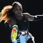 MELBOURNE, AUSTRALIA - JANUARY 26:  Serena Williams of the United States plays a forhand in her semifinal match against Mirjana Lucic-Baroni of Croatia on day 11 of the 2017 Australian Open at Melbourne Park on January 26, 2017 in Melbourne, Australia.  (Photo by Quinn Rooney/Getty Images)