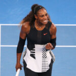MELBOURNE, AUSTRALIA - JANUARY 28:  Serena Williams of the United States reacts in her Women's Singles Final match against Venus Williams of the United States on day 13 of the 2017 Australian Open at Melbourne Park on January 28, 2017 in Melbourne, Australia.  (Photo by Michael Dodge/Getty Images)