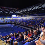 MELBOURNE, AUSTRALIA - JANUARY 29:  A general view of crowds in Margaret Court Arena watching on the screens during Men's Final match between Roger Federer of Switzerland and Rafael Nadal of Spain on day 14 of the 2017 Australian Open at Melbourne Park on January 29, 2017 in Melbourne, Australia.  (Photo by Vince Caligiuri/Getty Images)