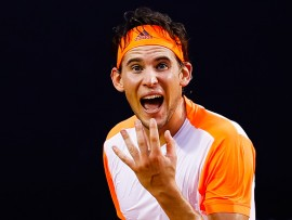 RIO DE JANEIRO, BRAZIL - FEBRUARY 25: Dominic Thiem of Austria reacts during the semifinals of the ATP Rio Open 2017 at Jockey Club Brasileiro on February 25, 2017 in Rio de Janeiro, Brazil. (Photo by Buda Mendes/Getty Images)