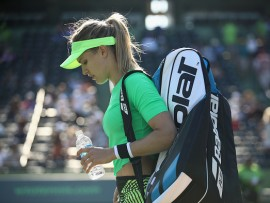 KEY BISCAYNE, FL - MARCH 22:  Eugenie Bouchard of Canada leaves the court after her loss against Ashleigh Barty of Australia at Crandon Park Tennis Center on March 22, 2017 in Key Biscayne, Florida.  (Photo by Julian Finney/Getty Images)