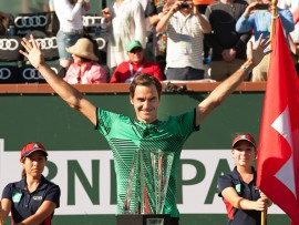 INDIAN WELLS, CA - MARCH 19: Roger Federer (SUI) poses with trophy after winning the men's singles final at the BNP Paribas Open on March 19, 2017, at the Indian Wells Tennis Garden, Indian Wells, CA. (Photo by Cynthia Lum/Icon Sportswire via Getty Images