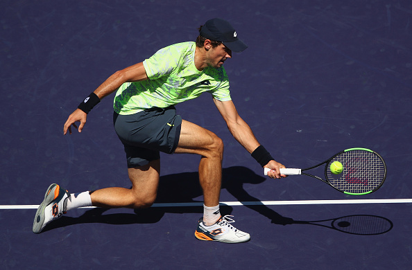 INDIAN WELLS, CA - MARCH 12:  Guido Pella of Argentina plays a forehand against Rafael Nadal of Spain in their second round match during day seven of the BNP Paribas Open at Indian Wells Tennis Garden on March 12, 2017 in Indian Wells, California.  (Photo by Clive Brunskill/Getty Images)