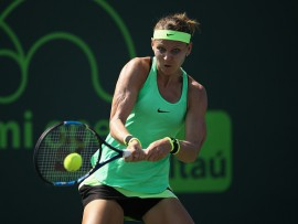 KEY BISCAYNE, FL - MARCH 23:  Lucie Safarova of Czech Republic in action against Daria Gavrilova of Australia at Crandon Park Tennis Center on March 23, 2017 in Key Biscayne, Florida.  (Photo by Julian Finney/Getty Images)
