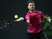 KEY BISCAYNE, FL - MARCH 27:  Stan Wawrinka of Switzerland in action against Malek Jaziri of Tunisia at Crandon Park Tennis Center on March 27, 2017 in Key Biscayne, Florida.  (Photo by Julian Finney/Getty Images)