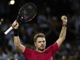 KEY BISCAYNE, FL - MARCH 27:  Stan Wawrinka of Switzerland celebrates defeating Malek Jaziri of Tunisia at Crandon Park Tennis Center on March 27, 2017 in Key Biscayne, Florida.  (Photo by Julian Finney/Getty Images)