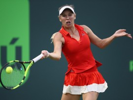 KEY BISCAYNE, FL - MARCH 23:  Caroline Wozniacki of Denmark in action against Varvari Lepchenko of USA at Crandon Park Tennis Center on March 23, 2017 in Key Biscayne, Florida.  (Photo by Julian Finney/Getty Images)