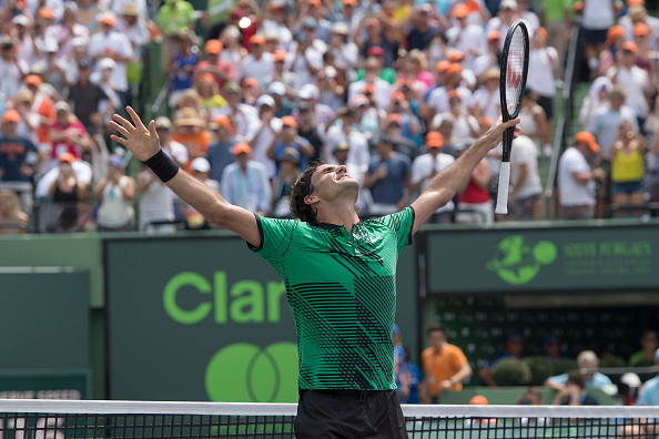 BISCAYNE, FL - APRIL 02: Roger Federer (SUI) celebrating here, defeats Rafael Nadal (ESP) 63 64 at the 2017 Miami Open tennis match on April 2, 2017, at the Tennis Center at Crandon Park in Key Biscayne, FL.(Photo by Andrew Patron/Icon Sportswire via Getty Images)