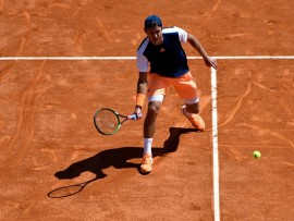 Lucas Pouille of France   during the Monte Carlo Rolex Masters 2017 on April 22, 2017 in Monaco, Monaco. (Photo by Agence Nice Presse/Icon Sport )