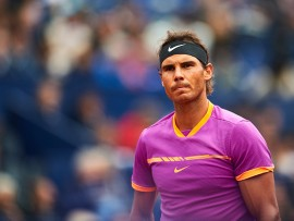 BARCELONA, SPAIN - APRIL 26:  Rafael Nadal of Spain looks on at his match against Rogerio Dutra Silva of Brasil during the Day 3 of the Barcelona Open Banc Sabadell at the Real Club de Tenis Barcelona on April 26, 2017 in Barcelona, Spain.  (Photo by fotopress/Getty Images)