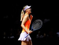 STUTTGART, GERMANY - APRIL 27:  Maria Sharapova of Russia celebrates victory in her match against Erkaterina Makarova of Russia during the Porsche Tennis Grand Prix at Porsche Arena on April 27, 2017 in Stuttgart, Germany.  (Photo by Adam Pretty/Bongarts/Getty Images)