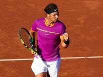 BARCELONA, SPAIN - APRIL 28:  Rafael Nadal of Spain celebrates after winning a point at his match against Hyeon Chung of South Korea during the Day 5 of the Barcelona Open Banc Sabadell at the Real Club de Tenis Barcelona on April 28, 2017 in Barcelona, Spain.  (Photo by fotopress/Getty Images)