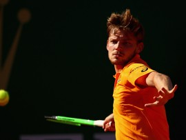MONTE-CARLO, MONACO - APRIL 21:  David Goffin of Belgium plays a forehand against Novak Djokovic of Serbia in their quarter final round match on day six of the Monte Carlo Rolex Masters at Monte-Carlo Sporting Club on April 21, 2017 in Monte-Carlo, Monaco.  (Photo by Clive Brunskill/Getty Images)