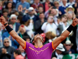 MONTE-CARLO, MONACO - APRIL 23:  Rafael Nadal of Spain celebrates winning during his match against Albert Ramos-Vinolas of Spain in the final during day eight of the ATP Monte Carlo Rolex Masters Tennis at Monte-Carlo Sporting Club on April 23, 2017 in Monte-Carlo, Monaco.  (Photo by fotopress/Getty Images)