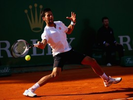MONTE-CARLO, MONACO - APRIL 21:  Novak Djokovic of Serbia plays a forehand against David Goffin of Belgium in their quarter final round match on day six of the Monte Carlo Rolex Masters at Monte-Carlo Sporting Club on April 21, 2017 in Monte-Carlo, Monaco.  (Photo by Clive Brunskill/Getty Images)