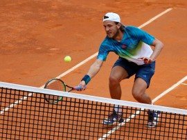 ROME, ITALY - 2016/05/14: Lucas Poulle of France during  the Semi-final   match of  the Italian Open tennis BNL2016  tournament against Andy Murray of Great Britain  Lucas Poulle of France. Andy Murray is through to the final of the Internazionali BNL dItalia for the first time after dismissing Lucas Pouille 6-2, 6-1 on a rainy day in Rome on Saturday. (Photo by Ciro De Luca/Pacific Press/LightRocket via Getty Images)