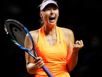 STUTTGART, GERMANY - APRIL 28:  Maria Sharapova of Russia celebrates winning match point in match against Anett Kontaveit of Estonia during the Porsche Tennis Grand Prix at Porsche Arena  on April 28, 2017 in Stuttgart, Germany.  (Photo by Adam Pretty/Bongarts/Getty Images)