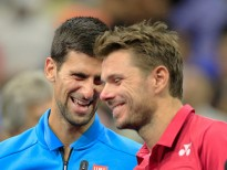 "2016 U.S. Open - Day 14  Novak Djokovic of Serbia and Stan Wawrinka of Switzerland share a moment during the trophy presentation after Stan Wawrinka of Switzerland won the Men""u2019s Singles Final on Arthur Ashe Stadium on day fourteen of the 2016 US Open Tennis Tournament at the USTA Billie Jean King National Tennis Center on September 11, 2016 in Flushing, Queens, New York City.  (Photo by Tim Clayton/Corbis via Getty Images)"