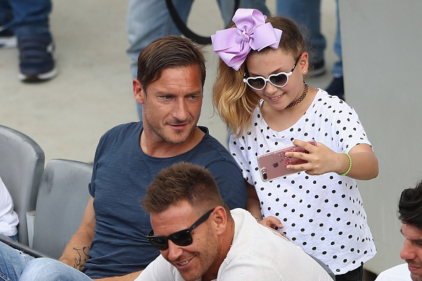 ROME, ITALY - MAY 16:  Francesco Totti legend of AS Roma poses for a 'selfie' during the men's second round match between Fernando Verdasco of Spain and David Goffin of Belgium on Day Three of The Internazionali BNL d'Italia 2017 at the Foro Italico on May 16, 2017 in Rome, Italy.  (Photo by Michael Steele/Getty Images)