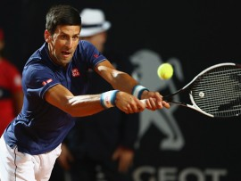ROME, ITALY - MAY 19:  Novak Djokovic of Serbia in action during the men's quarter-final match against Juan Martin Del Potro of Argentina on Day Six of the Internazionali BNL d'Italia 2017 at Foro Italico on May 19, 2017 in Rome, Italy.  (Photo by Michael Steele/Getty Images)
