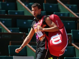 PARIS, FRANCE - MAY 26: Grigor Dimitrov of Bulgaria during practice on Court Central two days ahead of the start of 2017 French Open at Roland Garros stadium on May 26, 2017 in Paris, France. (Photo by Jean Catuffe/Getty Images)