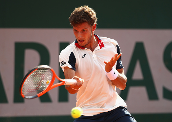 PARIS, FRANCE - MAY 31:  Pablo Carreno Busta of Spain plays a forehand during the mens singles second round match against Taro Daniel of Spain on day four of the 2017 French Open at Roland Garros on May 31, 2017 in Paris, France.  (Photo by Clive Brunskill/Getty Images)