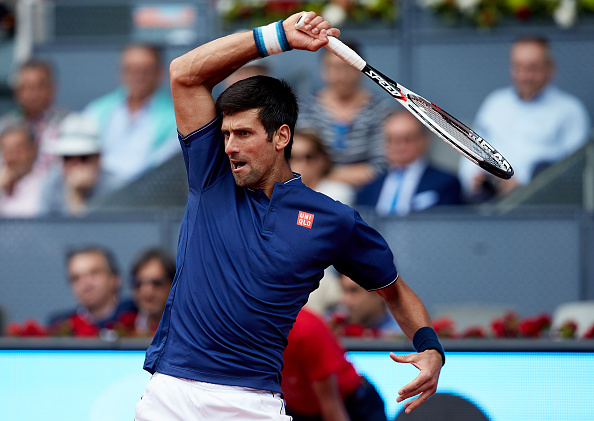 May 10th 2017, Caja Magica, Madrid, Spain; Mutua Madrid Open tennis tournament; Novak Djokovic of Serbia in action as he wins against Nicolas Almagro of Spain in a tough 3 sets;  (Photo by David Aliaga/Action Plus via Getty Images)