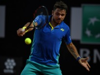 ROME, ITALY - MAY 17:  Stan Wawrinka of Switzerland plays a shot during his second round match against Benoit Paire of France in The Internazionali BNL d'Italia 2017 at Foro Italico on May 17, 2017 in Rome, Italy.  (Photo by Gareth Copley/Getty Images)