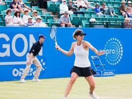 June 14th 2017, Nottingham,  England; WTA Aegon Nottingham Open Tennis Tournament day 5;  Tsvetana Pironkova of of Bulgaria prepares to hit a forehand as she heads towards victory over Kurumi Nara of Japan   (Photo by David Kissman/Action Plus via Getty Images)
