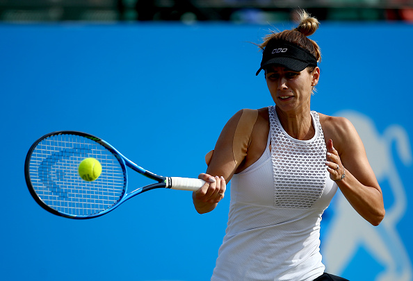 NOTTINGHAM, ENGLAND - JUNE 16:  Tsvetana Pironkova of Bulgaria plays a forehand during her quarter-final match against Lucie Safarova of the Czech Republic during day five of the Aegon Open Nottingham at the Nottingham Tennis Centre on June 16, 2017 in Nottingham, England.  (Photo by Jordan Mansfield/Getty Images for LTA)