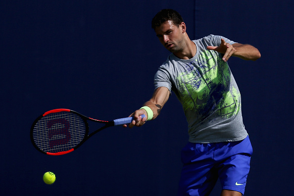 LONDON, ENGLAND - JUNE 18: Grigor Dimitrov of Bulgaria plays a forehand shot during a practice session ahead of the Aegon Championships at Queens Club on June 18, 2017 in London, England. (Photo by James Chance/Getty Images)