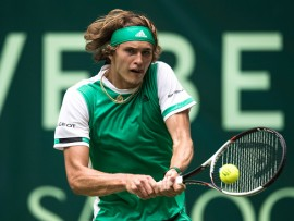 HALLE, GERMANY - JUNE 20:  Alexander Zverev of Germany plays a backhand during his match against Paolo Lorenzi of Italy during Day 4 of the Gerry Weber Open 2017 at  on June 20, 2017 in Halle, Germany.  (Photo by Lars Baron/Bongarts/Getty Images)