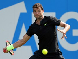 Bulgaria's Grigor Dimitrov during his match against France's Julien Benneteau during day three of the 2017 AEGON Championships at The Queen's Club, London. (Photo by Steven Paston/PA Images via Getty Images)